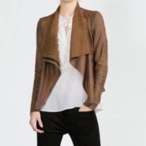 Zara Faux Suede Drape Jacket